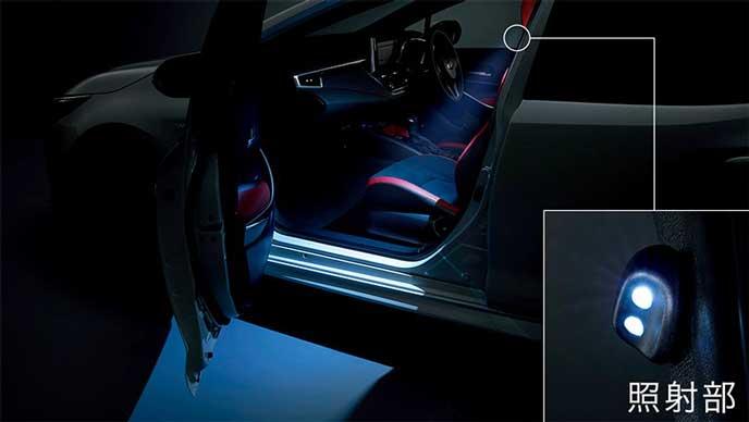 カローラスポーツに用意されたモデリスタのLEDスマートフットライト