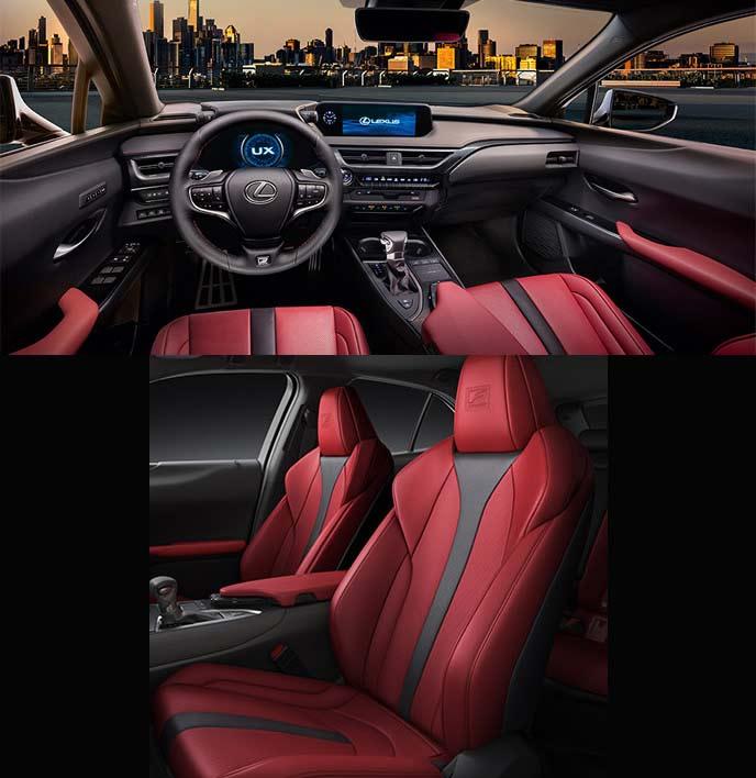 レクサス新型UXのFスポーツのレッド×ブラック内装