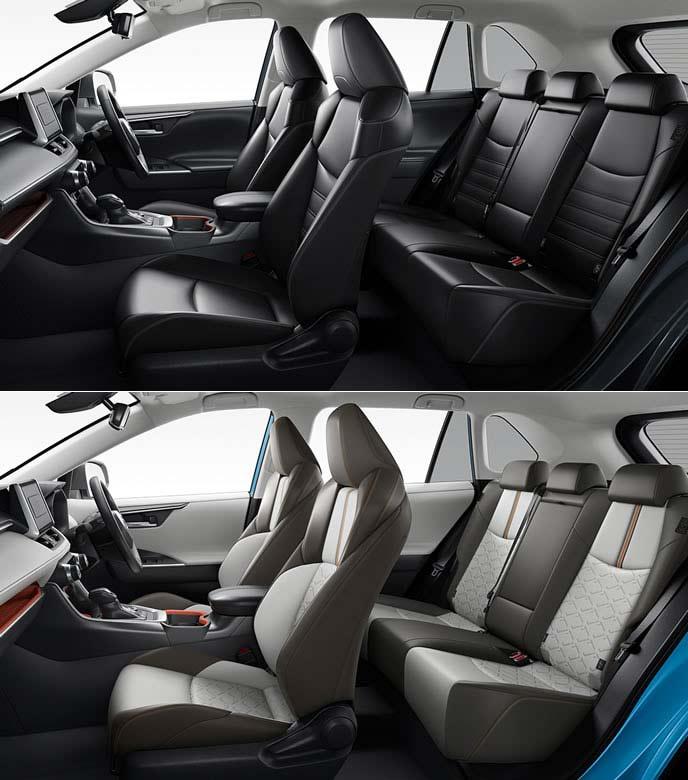 新型RAV4のアドベンチャーとGZパッケージのシート内装