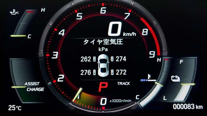 NSXに表示する4輪の空気圧