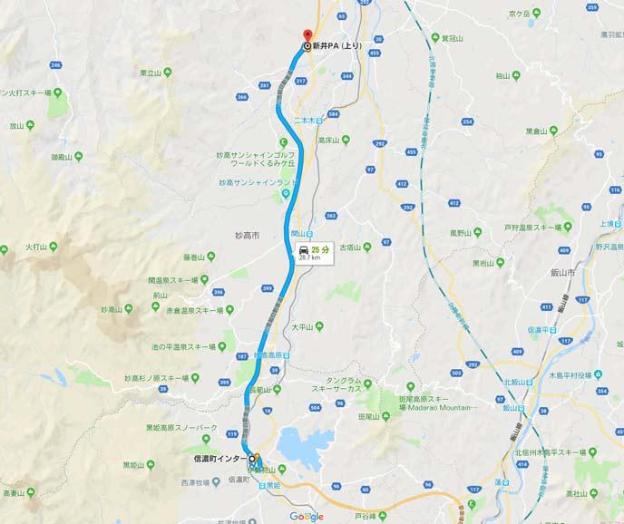 長野県信濃町ICから新潟県新井PA間の25kmの地図