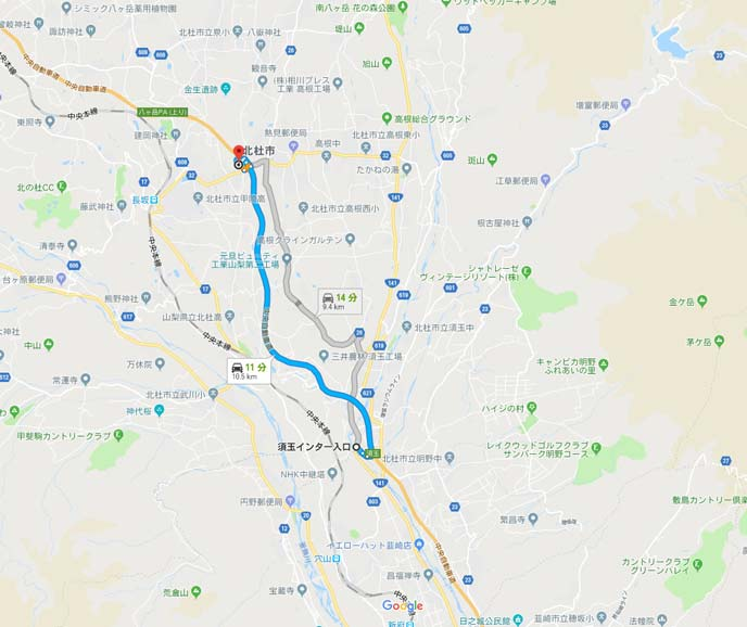 山梨県須玉ICと長坂IC間の9kmの地図