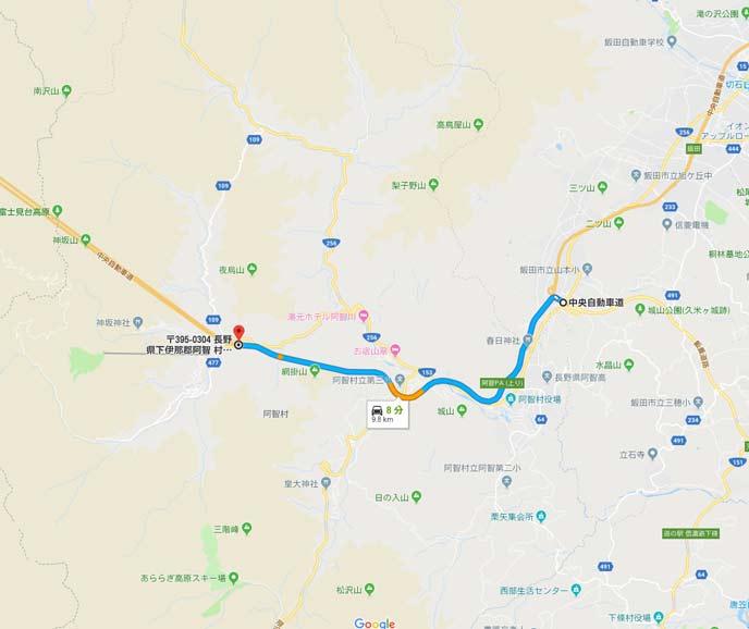 長野県飯田山本ICと園原IC間の10kmの地図