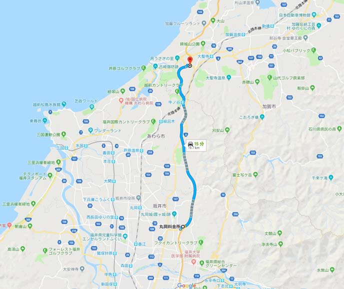 福井県丸岡ICと石川県加賀IC間18kmの地図