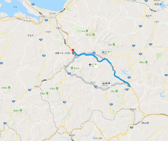 岡山県湯原ICと鳥取県江府IC間の34kmの地図