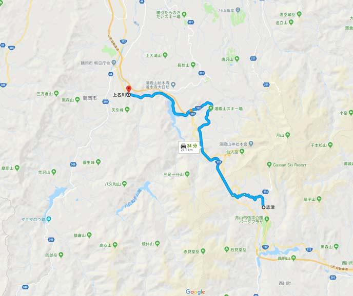 国道112号線の山形県西川町志津から鶴岡市上名川の27kmの地図