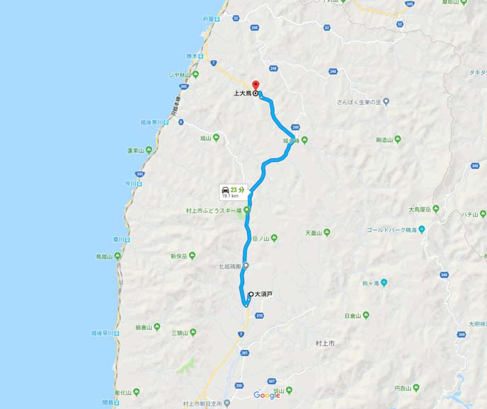 国道7号線の新潟県村上市の大須戸から上大鳥の16kmの地図
