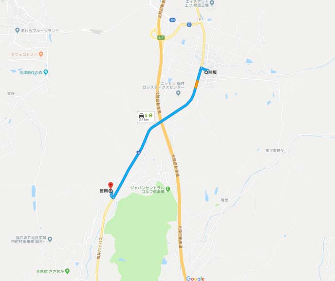 国道8号線の福井県あわら市熊坂から笹岡の4kmの地図