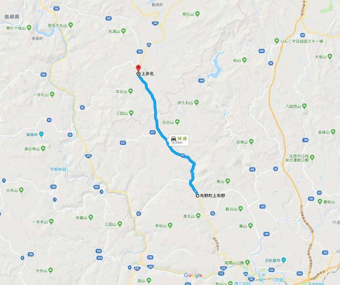 国道54号線の広島県三次市布野町上布野から島根県飯南町上赤名の12kmの地図
