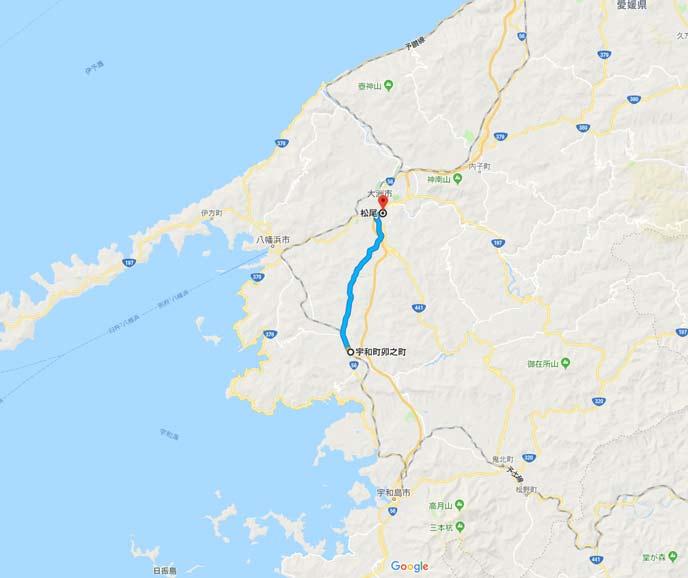 国道56号線の愛媛県西予市宇和町から大洲市松尾の7kmの地図