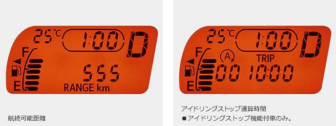 メーター表示例:航続可能距離(左)とアイドリングストップ通算時間(右)※アイドリングストップ車のみ