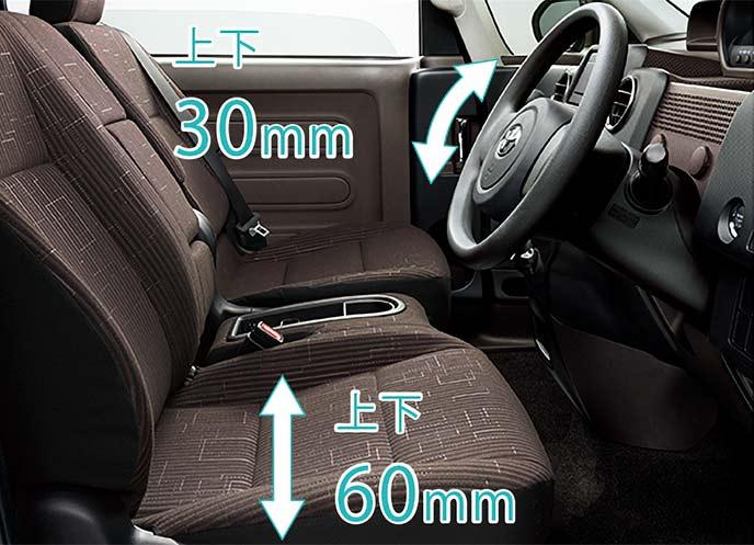 快適なドライビングポジションを提供するチルトステアリング・運転シート上下アジャスト機構