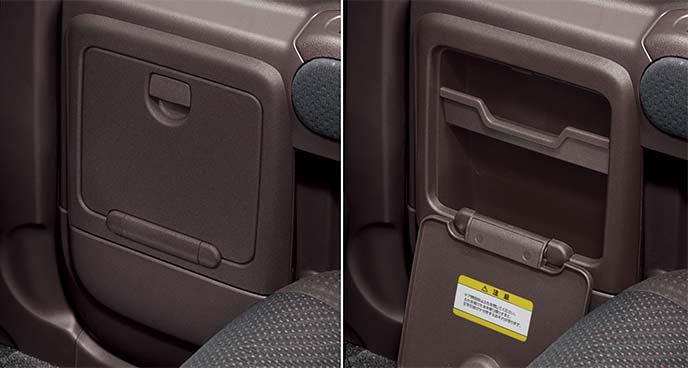 ドアポケットボックス(リア)右:閉状態 左:開状態)