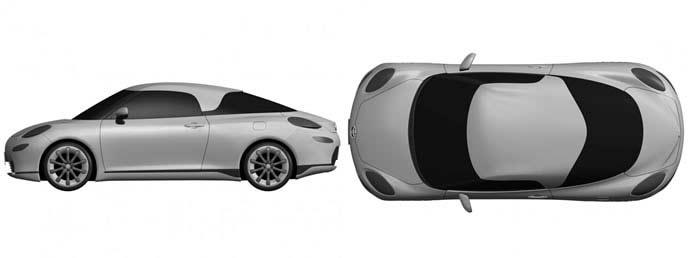トヨタ新型スポーツカーの上と横からのレンダリング画像