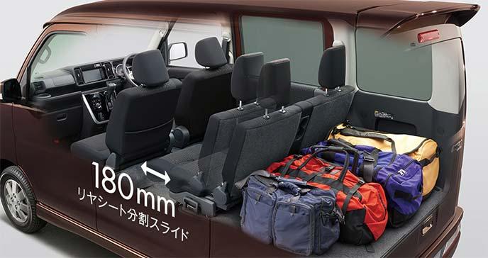 新型アトレーワゴンシートアレンジ例:ラゲッジルームに多数のバッグ