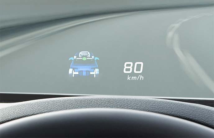 ドライバー席正面のヘッドアップディスプレイ