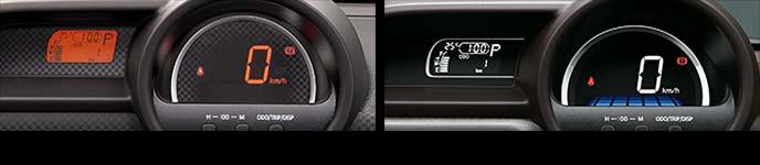 標準のセンターメーター(左)と、メーカーオプションのシルバー加飾付きセンターメーター