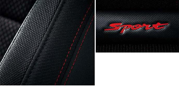 シートのレッドステッチと赤い「Sport」ロゴ