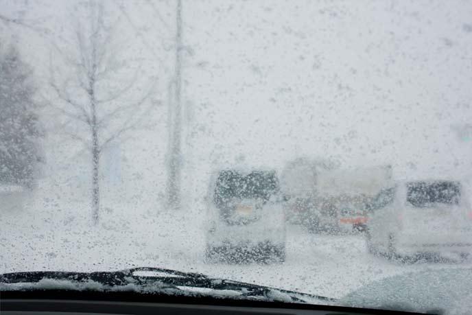 猛吹雪の雪道