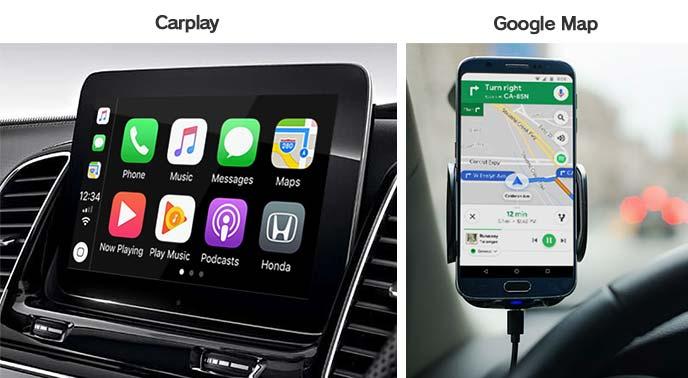 Google CarPlayとGoogleマップの操作画面