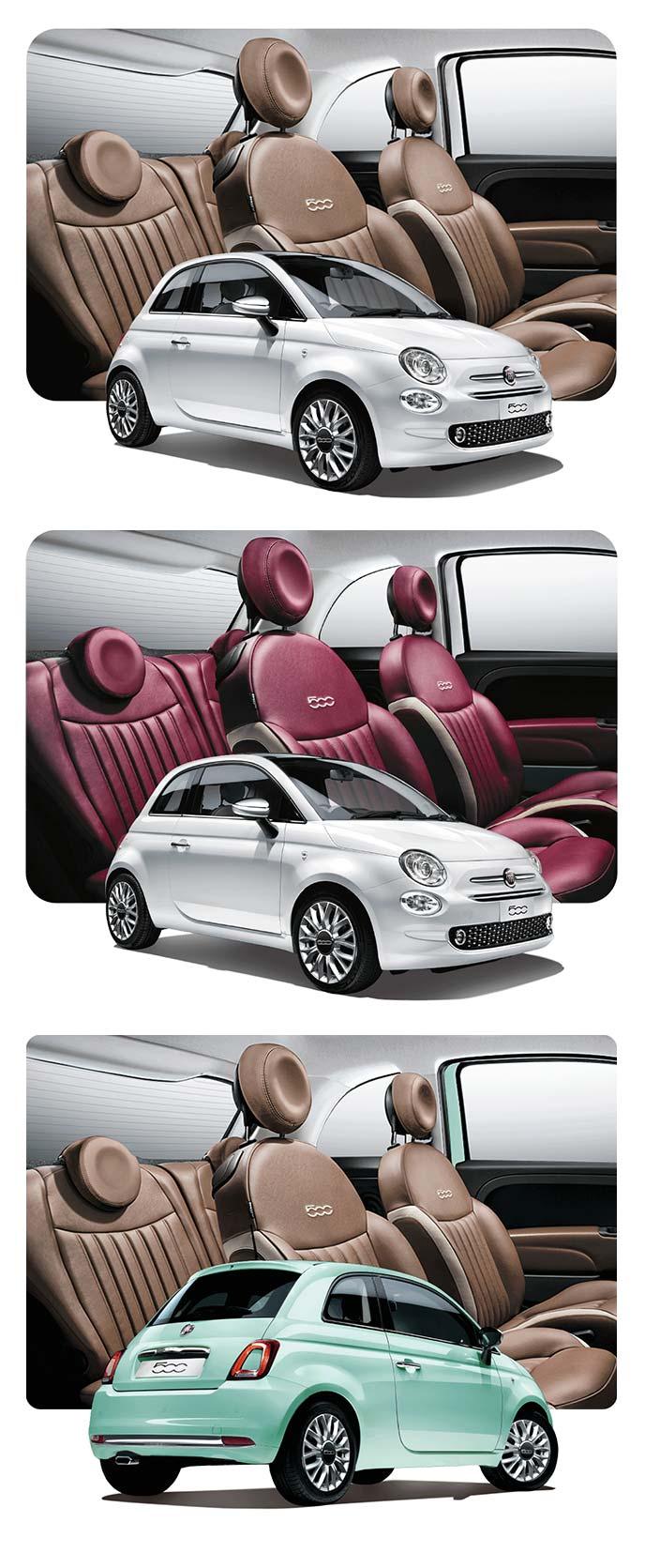 ブラウンとボルドーのシートカラーが印象的なフィアット500 Lussoのインテリア