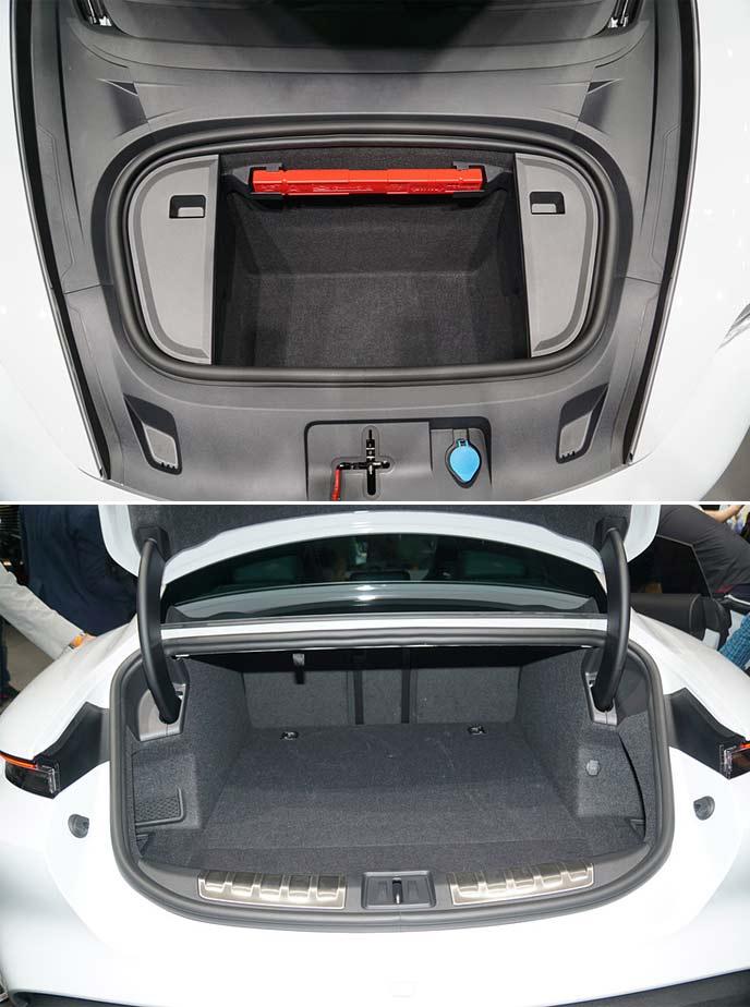 ポルシェ・タイカンターボ Sのフロント・リアのラゲッジスペース