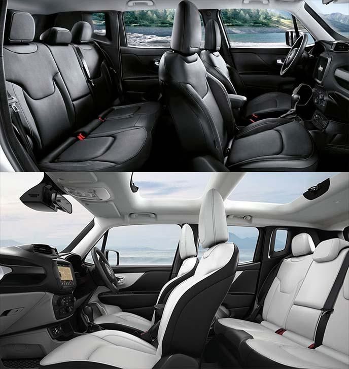 レネゲードのシート内装色:ブラック(上)とブラック/スキーグレー(下)