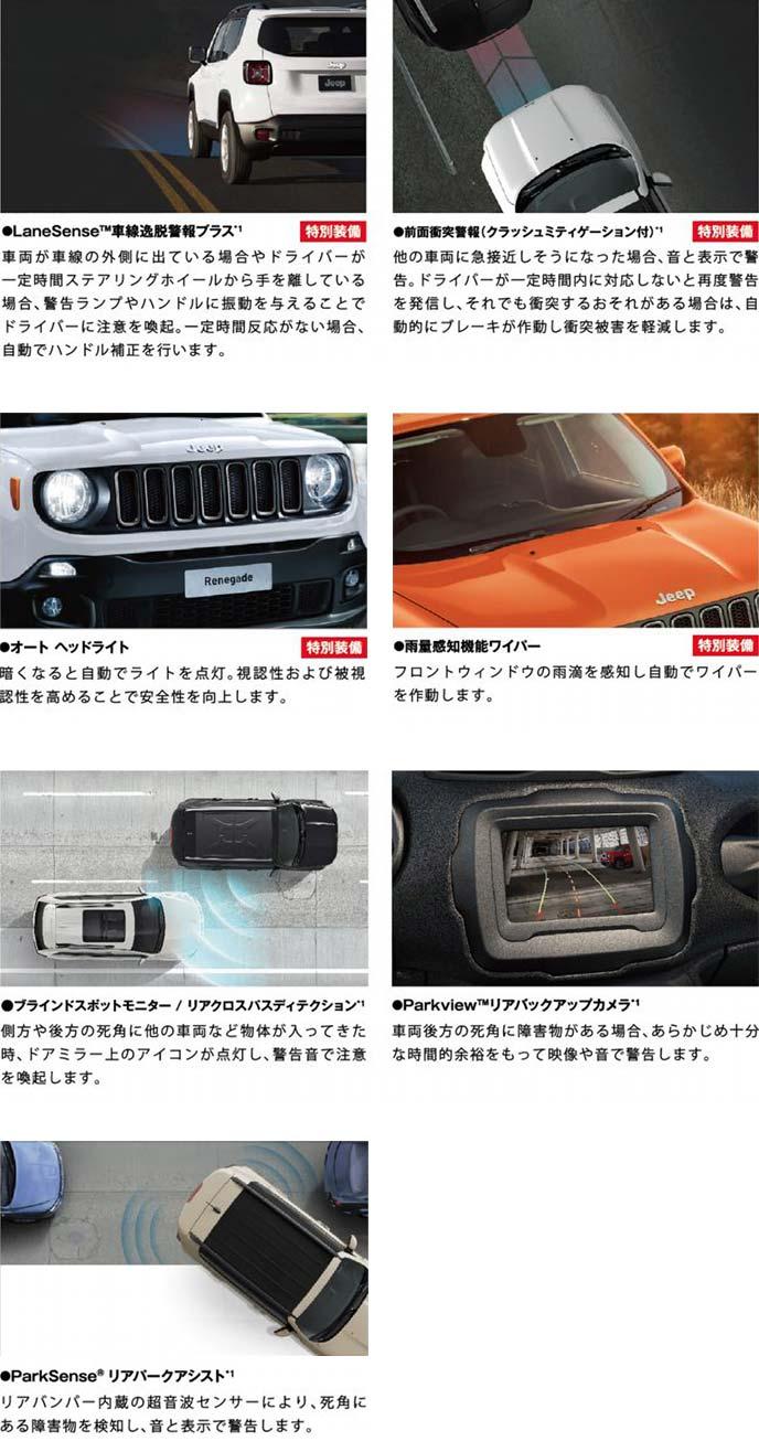 特別仕様車ジープ・レネゲードSafety Editionに標準装備の安全性能