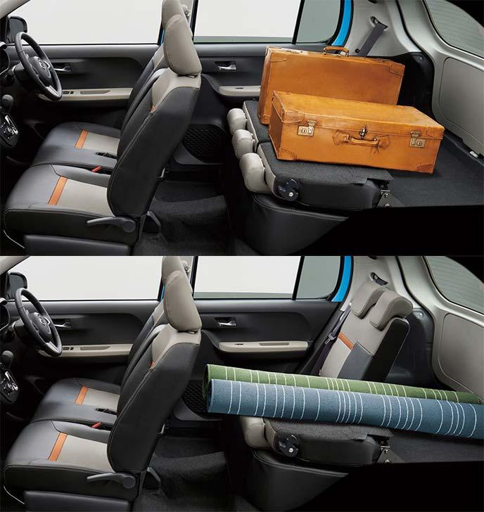 新型ブーン後部座席のシートアレンジ例