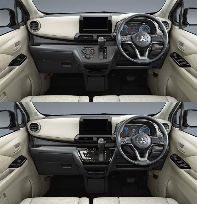 新型eKワゴン M(上)とG(下)のコックピット画像