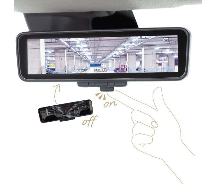 新型eKワゴンのデジタルルームミラー