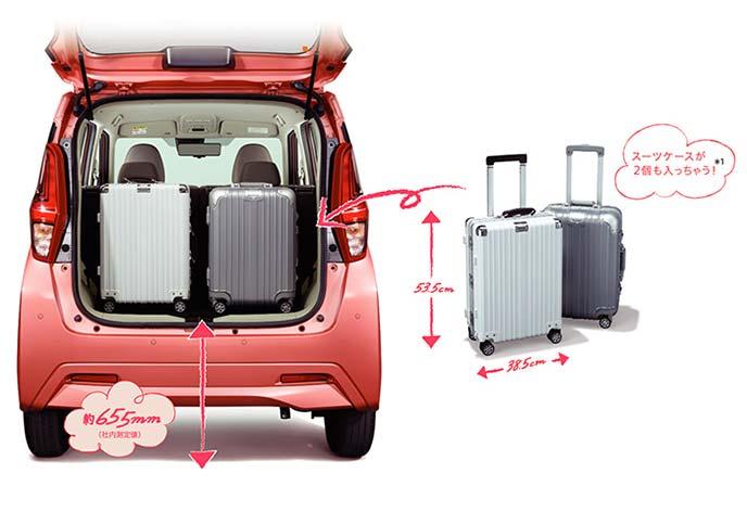 リアゲートを跳ね上げ、ラゲッジスペースにスーツケースを縦に積んだ新型eKワゴンのリアビュー