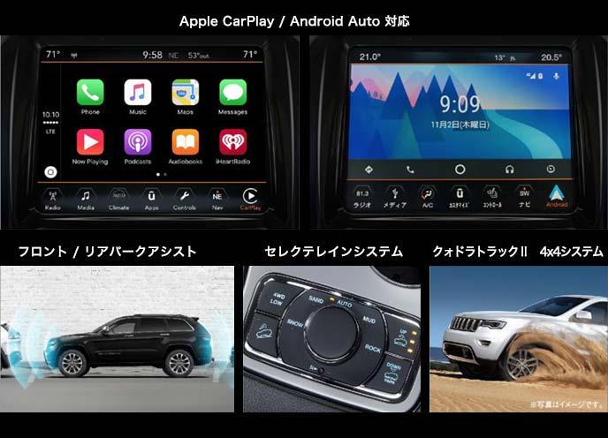 ジープ・グランドチェロキー「Jeep Grand Cherokee Upland」のApple CarPlay / Android Auot 対応センターコンソール、フロント / リアパークアシスト、セレクテレインシステム、クォドラトラックⅡ 4x4システムのイメージ