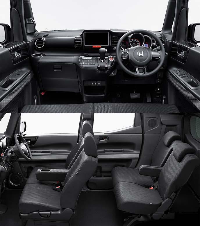 N-BOXスラッシュ特別仕様車G Lインディロックスタイルのオールブラックでまとめられたインテリア