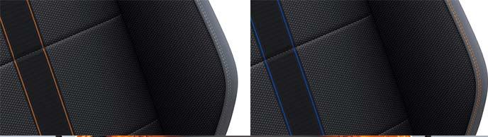 新型ポロのシートカラーアクセント エナジェティックオレンジメタリックとリーフブルーメタリック