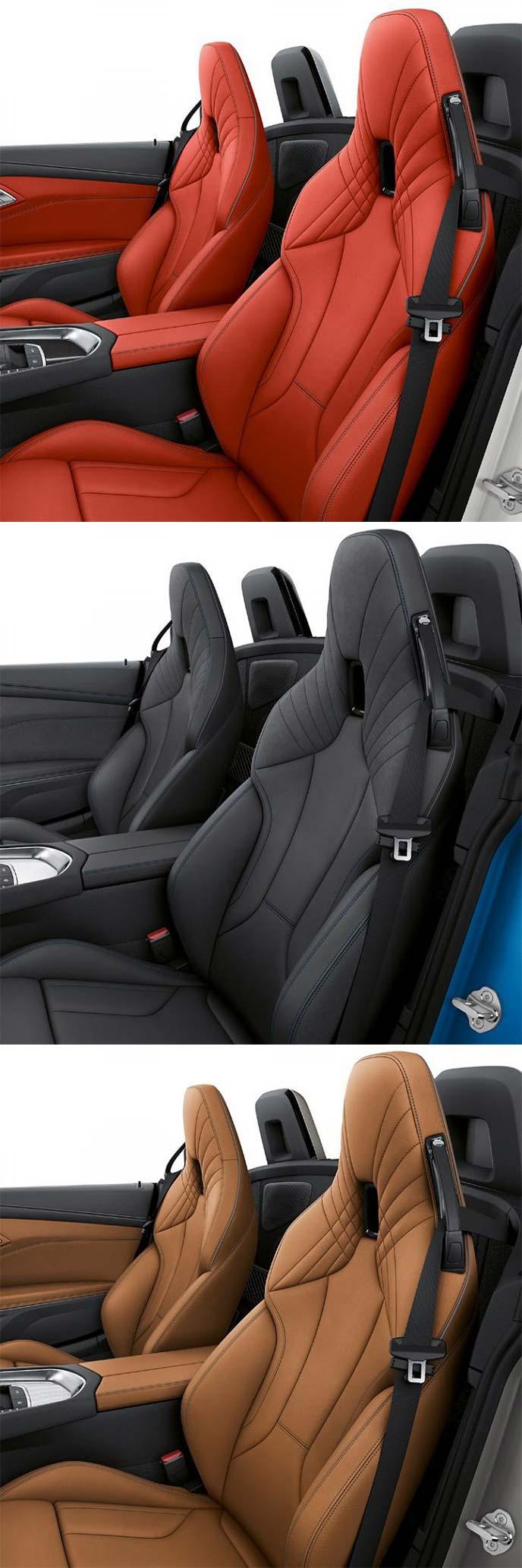 BMW Z4 スポーツ(上)Mスポーツ(中)M40i(下)のシート