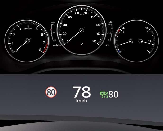 MAZDA3のカラーマルチスピードメーターとアクティブドライビングディスプレイ