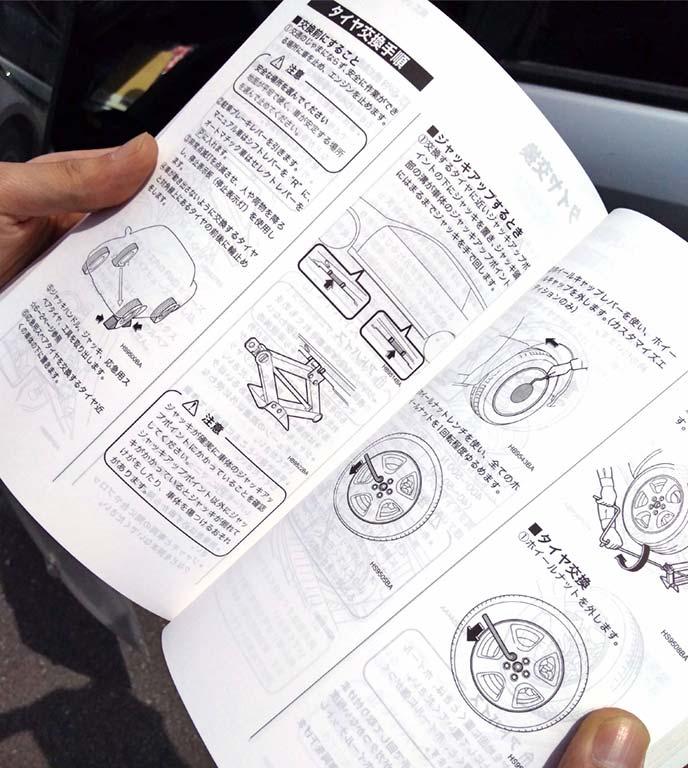 レガシィツーリングワゴン取り扱い説明書タイヤ交換のページ