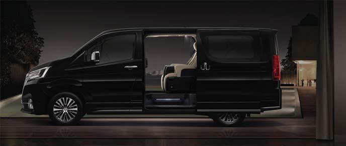 全長5265×全幅1950×全高1990mm スクエアスタイルで車内は広々