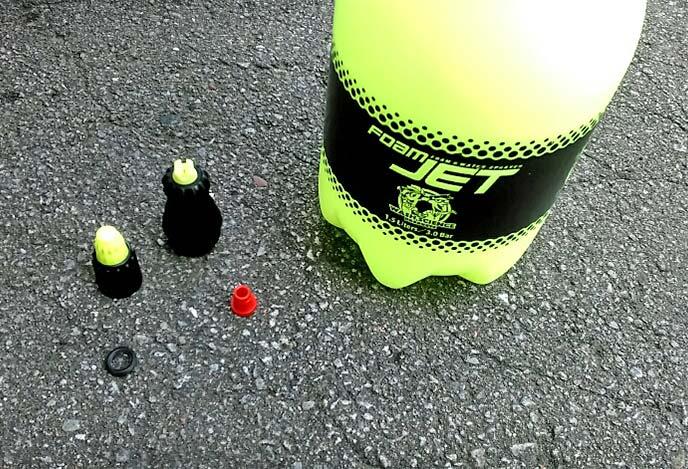 フォームジェット容器タンクとスプレーヘッド、赤色プラグ・泡用ノズル・水用ノズル