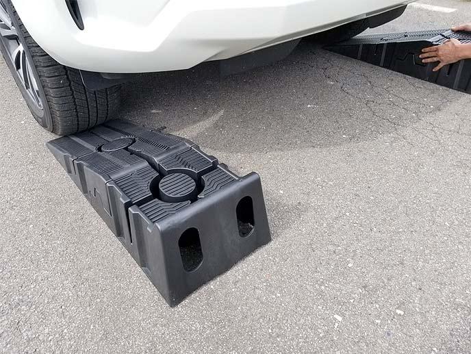 タイヤの少し手前にズレないようにして置く