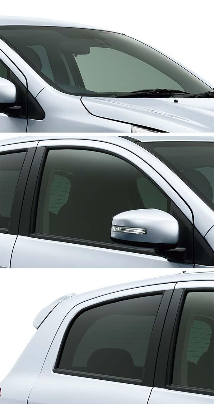 新型ミラージュのフロントウィンドシールド・フロントドア・リアドアのガラス