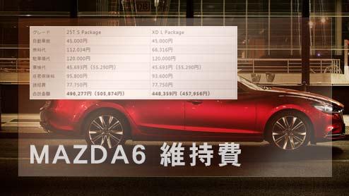 MAZDA6の維持費~ガソリンモデルとディーゼルモデルは年間いくら?