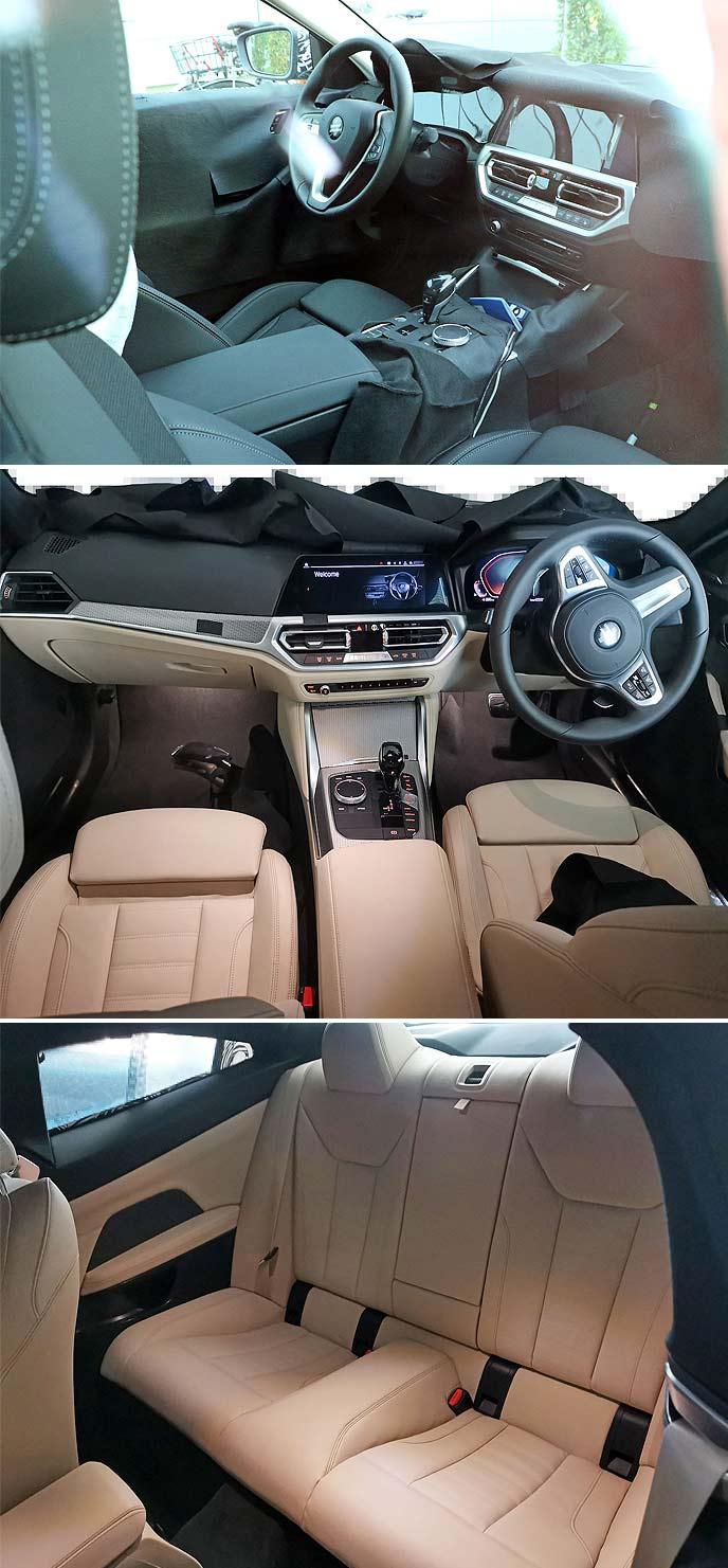 新型BMW4シリーズの開発車両のインテリア