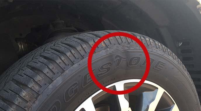 ピンチカットはタイヤの状態をチェックするとひと目でわかる