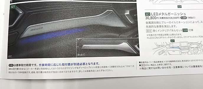 LEDメタルガーニッシュは助手席側に装備可能