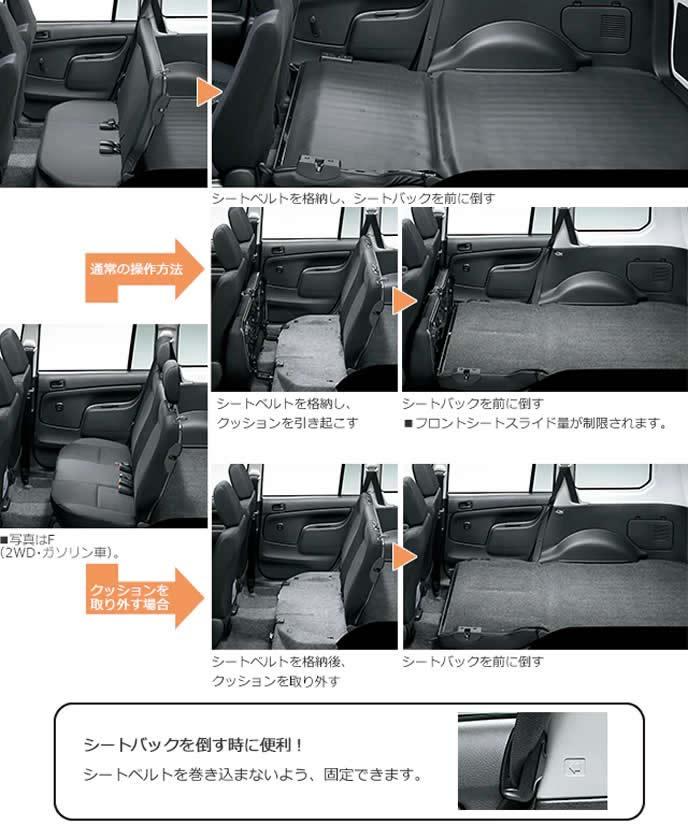 プロボックスのシートバック操作方法